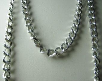 Vtg aluminum 2 strand chain necklace