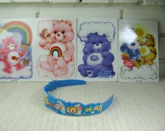 80's Care Bears headband , 4 new postcards and pillowcase