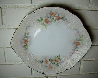 Vtg Czech small platter handpainted with pink dogwood blossoms
