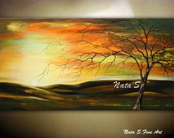 "LANDSCAPE PAINTING Wall Art Canvas Art Decor Abstract Paintings Modern Trees Home & Living Room Decor Large Artwork 24"" x 48"" by Nata S."