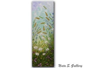 "Daisies Art Original Painting Wildflower Field Abstract Daisy Textured Artwork Interior Decor Vertical Art Painting 36"" x 12"" by Nata S."