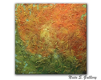 "Abstract Wall Painting, Textured Painting, Palette Knife Art, Acrylic Orange Green Painting, Large Art, Wall Decoration 36"" x 36"" by Nata S"