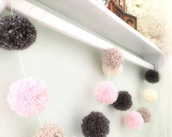 Pom Pom Garland Yarn Pink - Linen - Ivory - Medium Gray - Yarn Pom Poms - Nursery - Wedding - Farmhouse Style Decor - Party - Garland 8 Ft.