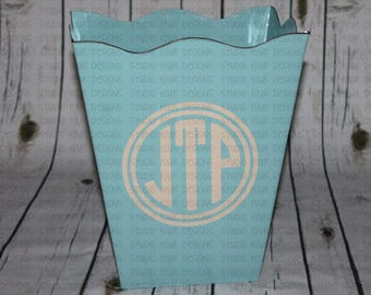Personalized Trash Can - Monogrammed Scalloped Trash Can - Create with your color scheme to match your decor - Dorm Room Decor Idea