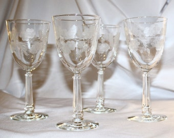 Crystal Garland Etched Water Goblets, Set of 4, Libbey Glass Company, 1950s