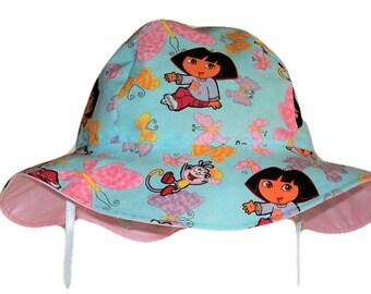 Sun Hat - Dora Sun Hat - Toddler Sun Hat - Girls Sun Hat - Summer Hat - Girls Summer Hat - Cotton Sun Hat - Beach Hat - Made To Order
