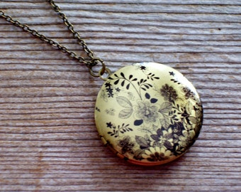 Black and Brass Floral Art Locket Necklace, Round Black Flower Locket, Botanical Locket
