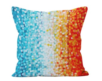 Blue And Orange Throw Pillow - Teal & Orange Abstract Decorative Pillow Designed By Louise Mead Available In Two Sizes
