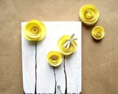 CLEARANCE SALE Yellow Home Decor, Nursery Art, Gift for Her, Spiral Paper Flower Roses on Wood, 3D Art, Mixed Media, Girlfriend Gift