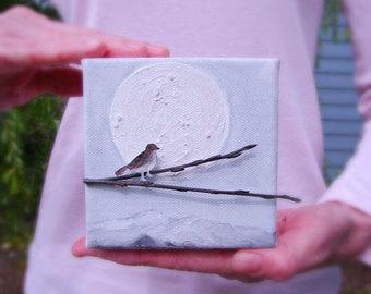 CLEARANCE SALE 3D Sculpture Art, Full Moon-Mixed Media Art for Home, Office, Nursery Decor, Wall Art, Love Birds