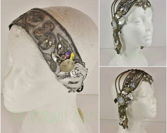 Tribal Fusion or Boho Festival Headdress Base- Silver Sequin Floral Sari Trim with AB Crystal and Tribal Accents