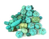 39 Pieces 5mm to 30mm Magnesite Stone Mixed Lot, Turquoise Blue Green,  Stone Beads, Centerpiece Beads, Pendant Beads, Craft Beading