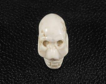 Magnesite Stone Carved Skull, Natural White, Tan Matrix, Skull Pendant, Center Bead, Large 25mm 1 Inch, Crafting Skull Bead, Beading Supply