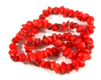 9mm Red Bamboo Coral, Pebble Chip Beads, Full Strand, Light Red Coral Beads, Beading Supply, Southwestern Beads, Black Accents, Crafting