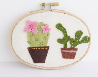 Flowering Cactus, Succulent Wall Art, Potted Houseplants, Embroidery Hoop, Office Decor, Gardener Gift, Greenery Home Decoration, Nursery