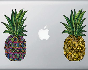 "CLR:MB - Patterned Pineapple - Vinyl Macbook Laptop Decal © 2016 YYDCo. (3.25""w x 6.5""h)"