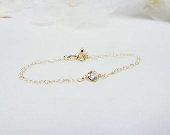 14kt Gold White Topaz Bracelet Cubic Zirconia Bracelet Gold Chain Bracelet CZ Bracelet 14KT Gold Bracelet or Gold Filled Bracelet Buy3+1Free