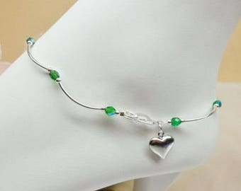 Girls Anklet Emerald Anklet Heart Anklet Crystal Anklet Adjustable Anklet Girls Ankle Bracelet 925 Sterling Silver BuyAny3+Get1 Free