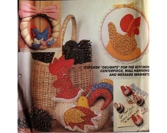Wreath Pattern, Chicken Decor, McCall's 8505, Chicken Soft Sculpture, UNCUT, Chicken Hoop Art, Kitchen Decorations, Refrigerator Magnet