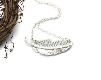 Large Silver Feather Necklace, Fine Silver Feather Pendant, Feather Necklace, Gift for Women, Gift Under 200, Gift Wrapped, Gift for Bride