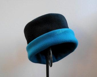 Black and Dark Teal Fleece Hat, Roll Brim Hat, Soft and Warm Hat, Black and Teal Hat, Fleece Hat