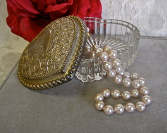Heart Trinket Box Heavy Glass with Gold Tone Metal Decorated Lid Vintage 70s Shabby Chic Jewelry Box Great for Gift Giving Stocking Stuffer