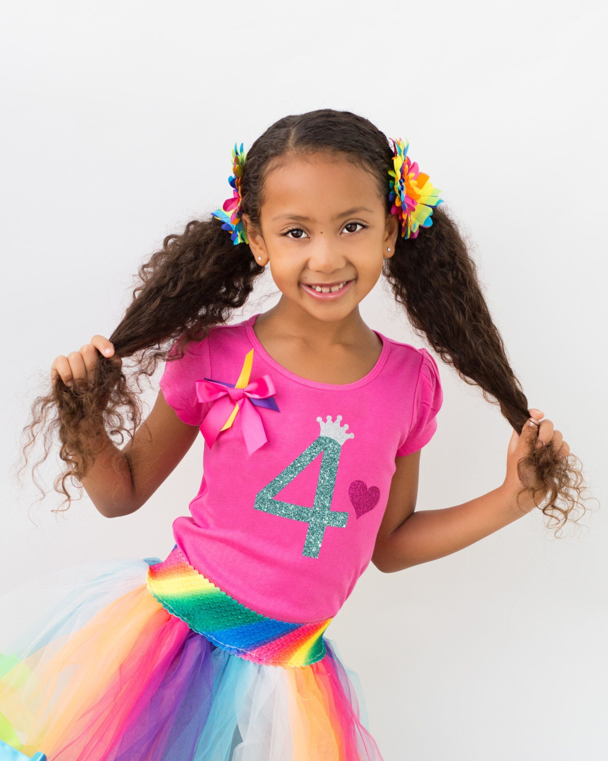 Design your own t-shirt hot pink - 4th Birthday Outfit Rainbow Tutu Birthday Hair Bow Girls Birthday Rainbow Socks Birthday Girl Outfit Personalized Shirt Glitter Sparkles 4