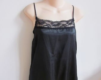 Vintage Slip dress black silky nightgown sexy plus size lingerie L XL 40 bust