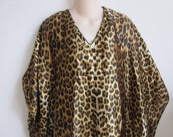 Vintage caftan dress robe  silky leopard lounge wear nightgown M L XL one size plus
