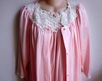 Pink nylon nightgown & robe set Shadowline fancy lace  peignoir lingerie S M