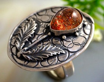 Sunstone Ring Heliolite Stone Magic Flower Ring Sterling Silver Jewelry