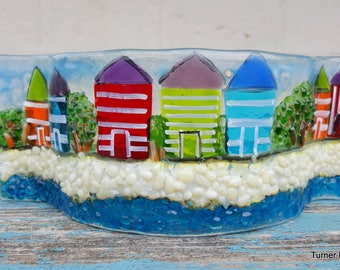 Made to order Beach Hut Tea Light Wave Fused Glass  SRAJD, GBUK, fhf