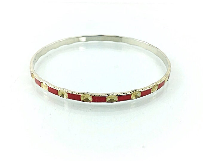 A Simple Vermeil Bangle, red enamel bangle, gold wash over silver. Classical Vermeil Bracelet. Silver Bangle. Red and gold bracelet. Holiday