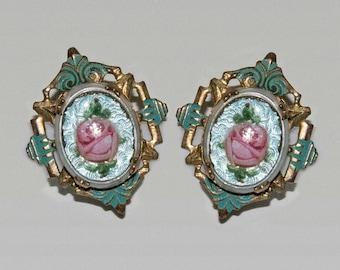 Beautiful 1920s 1930s style rockabilly pinup swing vintage filigree blue enamel pink roses and goldtone screw back earrings.