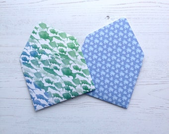 2 Handmade Envelopes Sea Blues Greens and White Tropical Fish and Turtles Handy for Small Gifts or Cards