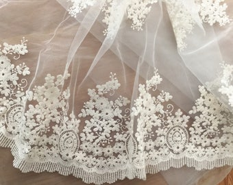 vintage style cotton lace trim in cream , cotton flroal embroidery lace trim at 17.7 '' wide  ,Tulle Lace Bridal Wedding Fabric Lace
