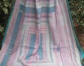 Soft Blue/Green kantha Kantha ,Sari throw, Sari Blanket, Kantha Blanket,  Kantha Throw, Indian Quilt, Coverlet, Ralli Quilt, Kantha