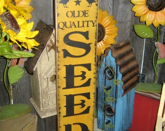 "Primitive wood Lg sign 24"" hand painted "" Olde Quality SEEDS Company "" country folkart wall Housewares Decor"