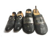 hand carved wooden shoes, puppet marionette parts, antique vintage doll shoes, antique metal buckles