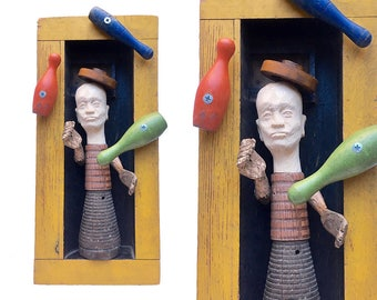 juggling CLOWN art, mixed media original, foundry mold assemblage, primitive art, folk art man clown by Elizabeth Rosen