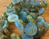 ON SALE Czech Dragonfly Bead Aqua Blue Opaline 17mm Coin QTY 2