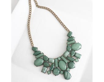 Green Bib Necklace, Green Statement Necklace, Greenery Jewelry, Sage Green Necklace