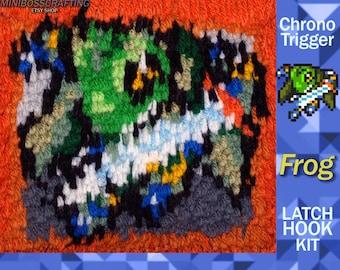 Chrono Trigger:  Frog - Latch Hook Kit - DIY Latch Hook Rug 7*7 Inches