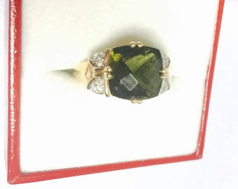 Vintage 10 K Gold Ring Size 7.5 , Green Stone & Diamonds, Stamped, Clearance S A L E, Item No. S411