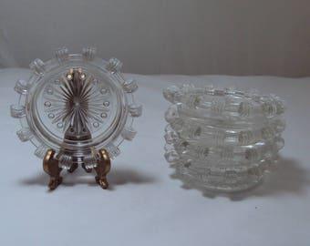Set of 5 Vintage Crystal Glass Coasters Depression Glass