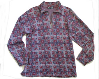 Vintage Retro Top- Short Collar -Zip Sweater - grey Burgundy Maroon collared Jumper - long sleeve -floral seventies-mens- unisex -large size