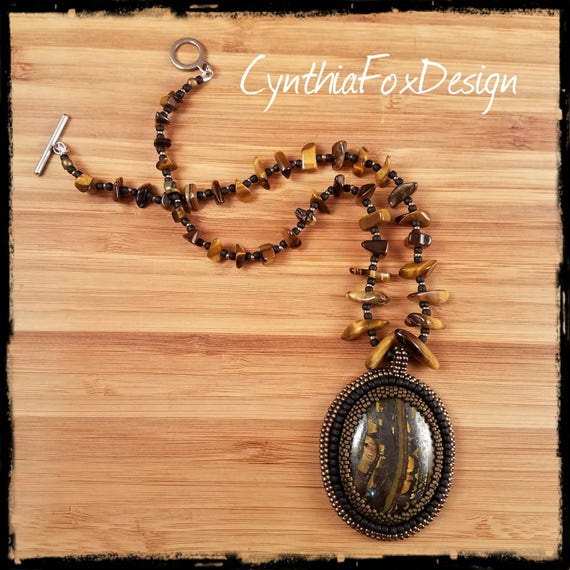 Tiger Eye Necklace, Safari Jewelry, Bronze and Black Pendant, Golden Beaded Necklace, Foxxy Jewelry from CynthiaFoxDesign