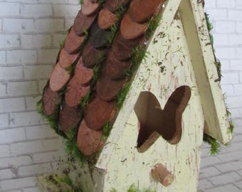 wooden bird house pennies penny copper coin bird house penny roof home decor fairy garden display mini birdhouse