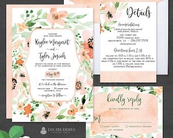 Floral Wedding Invitation 3 Pc Peach Wedding Invitation Set Elegant Wedding Invitation Suite Watercolor Wedding Invites RSVP Set - Kaylee