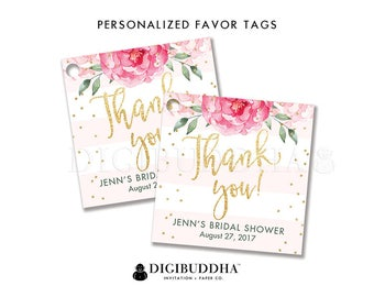 Floral Bridal Shower Favor Tag Custom Gift Tag Bridal Shower Favor Tag Label Tags Gift Tag Party Favor Tag DIY Printable or Printed - Jenn